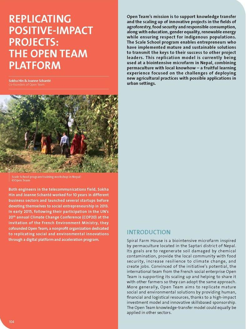 Replicating positive-impact projects: the Open Team platform